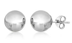 SEVIL Women's 14K White Gold Ball Stud Earrings - Size: 6mm