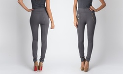 Chic Style Quad Zipper Fitted Pants - Grey - Size: Large