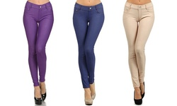 Women's 5-Pocket Slimming Jeggings - 3 Pack - Camel/Dark Blue/Purple - S/M