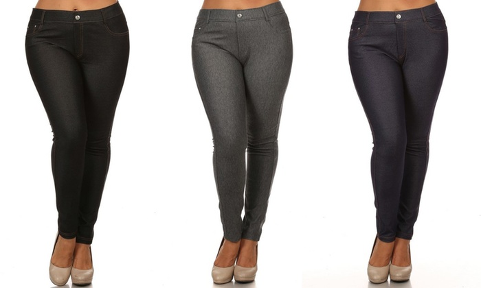 ec97024dab4 Women s 5-Pocket Plus-Size Jeggings  Black-Navy-Grey 1X (3-Pack ...