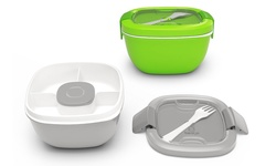 Bentgo Salad All-in-One Stackable Salad Carrier 2 Pack - Green/Grey