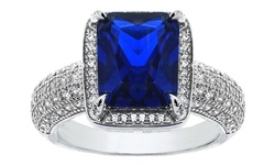 GM Emerald Cut Ring In Sterling Silver - Blue Sapphire - Size: 7