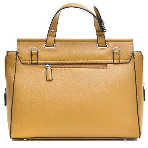 2ff005abfde0 ... Dasein Briefcase Satchel Handbag with Expandable Zipper Sides - Beige  ...