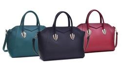 Dasein Zip Top Closure Classic Satchel Handbag - Black
