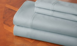 Hotel New York 100% Cotton Sateen Sheet Sets - Light Blue - Size: Queen