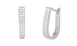 Swarovski Elements Omega Hoop Earring in Sterling - Silver