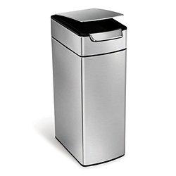 simplehuman Slim Rectangular 10.5 Gal. Stainless Steel Touch-Bar Trash Can