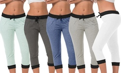 E201 Women's Fashion Contrast-Color Joggers in Assorted Color - 5-Pack/L