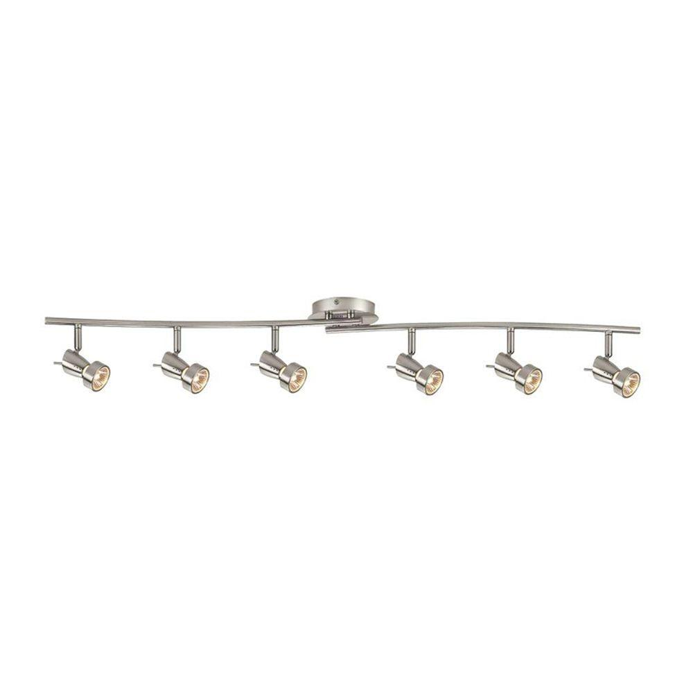 Hampton Bay 6 Light Ceiling Wall Dual Wave Bar Fixture Nickel