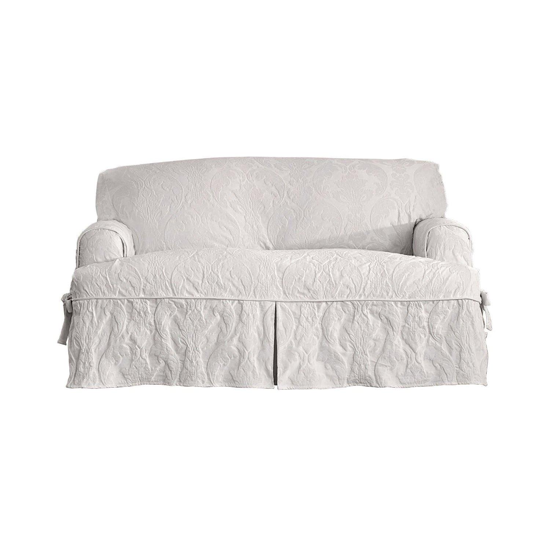 Surefit Matelasse Damask T Cushion Sofa Slipcover White Check