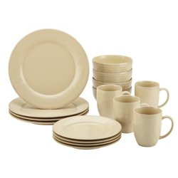 Rachael Ray Cucina 16-Piece Stoneware Dinnerware Set - Almond Cream(55094)
