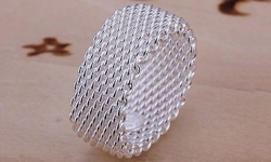 Sterling Silver Woven Mesh Ring: Size 9