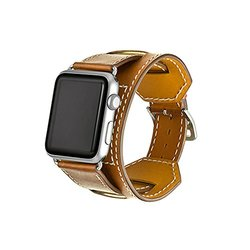 iPM Genuine Luxury Leather Cuff Bracelet For Apple Watch: 38mm