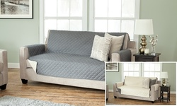 Home Fashions 2-Pack Reversible Slipcover Set - Sofa - Charcoal/Beige