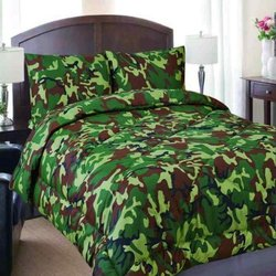 Regal Comfort Army Camouflage or Camo Print Microfiber - Grn - Size : Twin