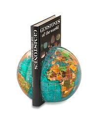 Alexander Kalifano BI150G-BB-HF Gemstone Globe Bookend - Bahama Blue