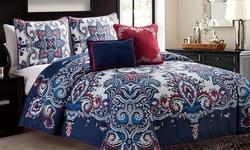 Victoria Classics Istanbul Comforter Set - Navy - Size: Queen/Full