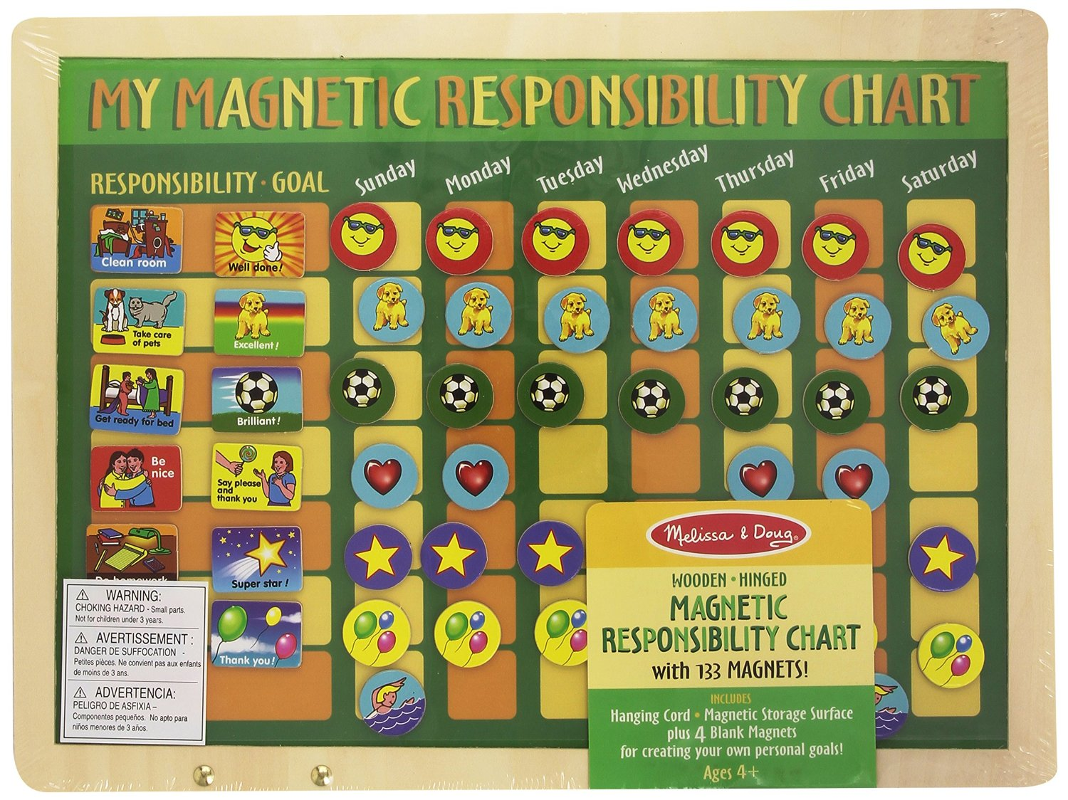 Melissa Doug Magnetic Responsibility Chart Multicolor Age 3 Years