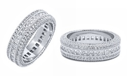 18k White Gold 7ctw French-cut Cz Eternity Band - Size 10
