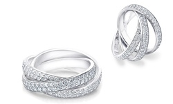 SGS 18K White Gold Rolling Eternity Ring with Swarovski Crystals - Size: 8