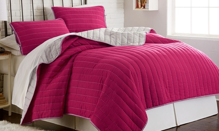 Pct Reversible Coverlet Set, Raspberry Colored Bedding