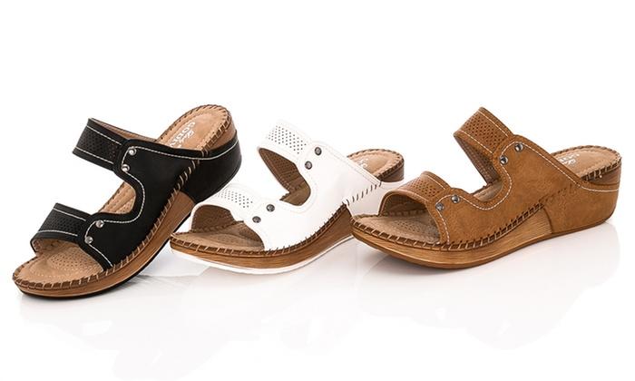 2d4e5a9dd277 Lady Godiva Women s Double Strap Comfort Wedge Sandal - Beige - Size ...