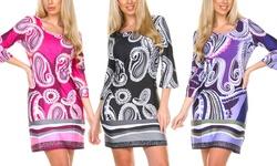 White Mark Alexandra Bold Paisley Print Women's Dress - Purple - Size: M