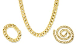 Relex 18KT Gold Plated Cuban Chain Necklace - Size: 13mm-28""