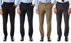 Alberto Cardinali Men's Slim-Fit Flat-Front Dress Pants - Black - 30-30