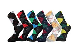 Frenchic Men's Cotton Blend Argyle Dress Socks - Assorted -12 Pairs