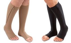 Extreme Fit Unisex Open Toe Zipper Compression Socks - Beige - Large/XL