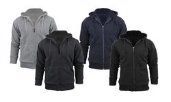 Men s Sherpa Lined Hoodie Jacket Blue Navy - XLarge
