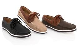Franco Vanucci Men's Boat Shoe: Black/Black - 12