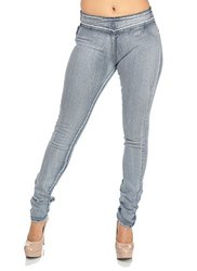 Cheap High Waisted Light Wash Jeans with Side Zipper - Size: 15