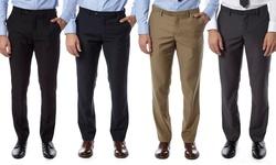 Alberto Cardinali Men's Slim-Fit Flat-Front Pants - Gray - Size: 38/30