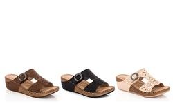 Lady Godiva Comfort Wedge Sandal - Black - Size: 6.5