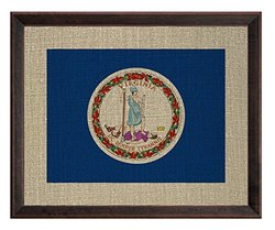 Framed State Flags on Antique Linen: Virginia
