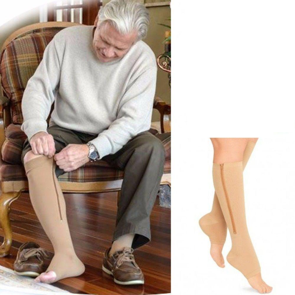 2ffc66e4a6b Zip Sox Zip up compression socks 1 Pair - Beige - Size   Large ...