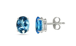Women's 14K White Gold Genuine Topaz Stud Earrings - Blue - 1 Pair