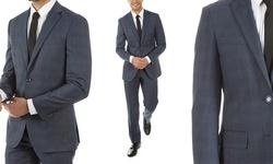 Alberto Cardinali Men's Light Plaid Slim-Fit Suit - Blue - Size:46L/40W