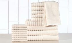 Casa Platino Double Ply 100% Cotton Towel Set - Ivory - 18-Piece