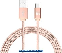 Usb-c Braided Cable With Reversible Connector For Usb Type C Devices: Rose/6 Ft