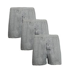 3-pack Men's Premium Blend Soft Knit Tagless Boxers: Heather Grey/medium