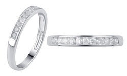Kiran Jewels Round Diamond Channel Bands 0.25 CTTW - White Gold - Size: 6