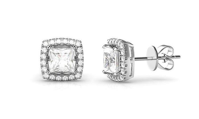 Nes 3 44 Cttw Halo Stud Earrings W 18k Swarovski Element Crystals Gold