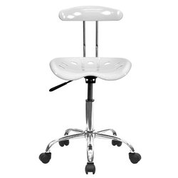 Flash Furniture Vibrant & Chrome Computer Task Chair - White 815737