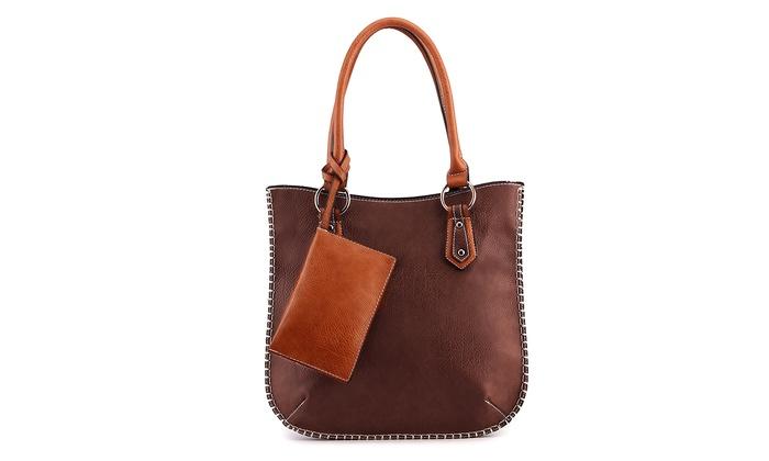 Mkf Collection Akris Handbag With Removable Coin Purse Brown