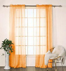 Chianti Satin Stripe 80x84 Rp Pair Panel: Orange