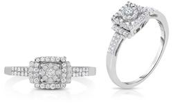Beauty Gem 1/3 CTTW Diamond Ring in Sterling Silver - Size: 8