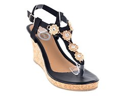 Ladies Classy Bling Wedge Sandals: Black/9